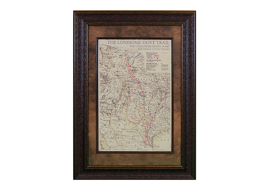 "Small ""Lonesome Dove"" Map Framed,L.M.T. Rustic"