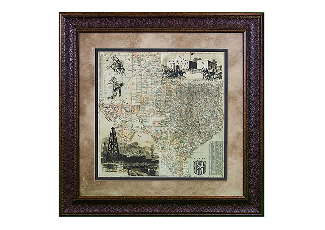 "Large ""Texas County"" Map Framed,L.M.T. Rustic"