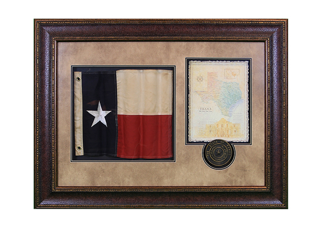 Shadowbox w/Texas Flag, Letter & Seal Framed,L.M.T. Rustic