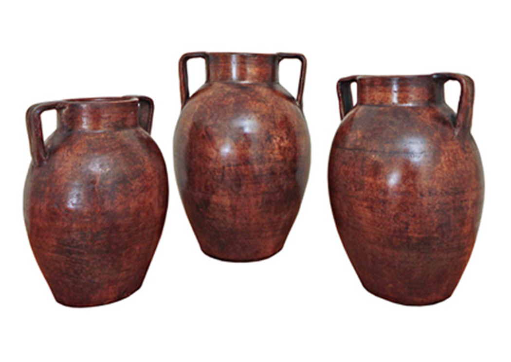 3 Piece Boa Con Asa/Red Cafe Pot Set,L.M.T. Rustic
