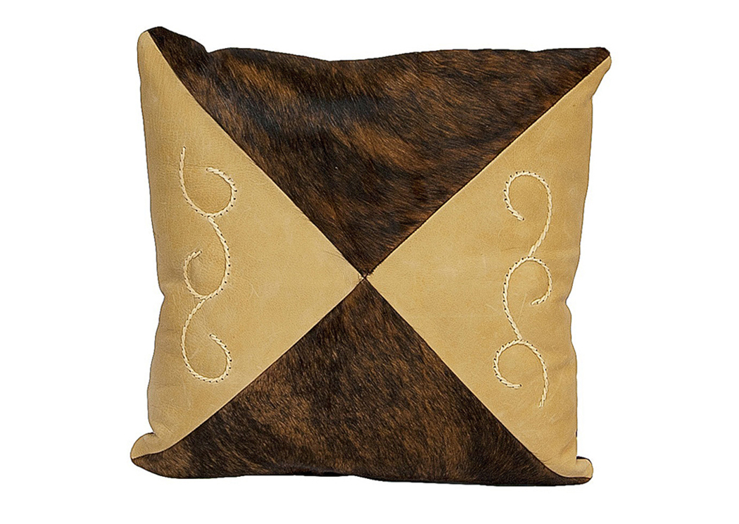 Square Cowhide & Leather Cushion,L.M.T. Rustic