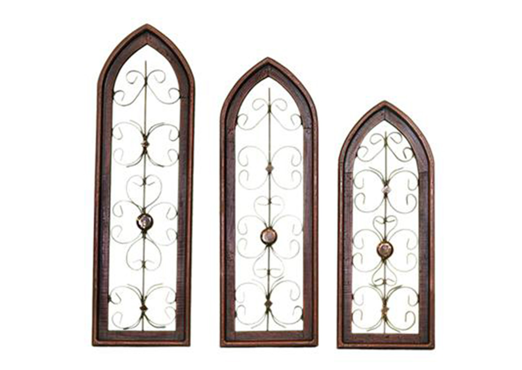 3 Piece Red Wood & Iron Cathedral Window Set,L.M.T. Rustic