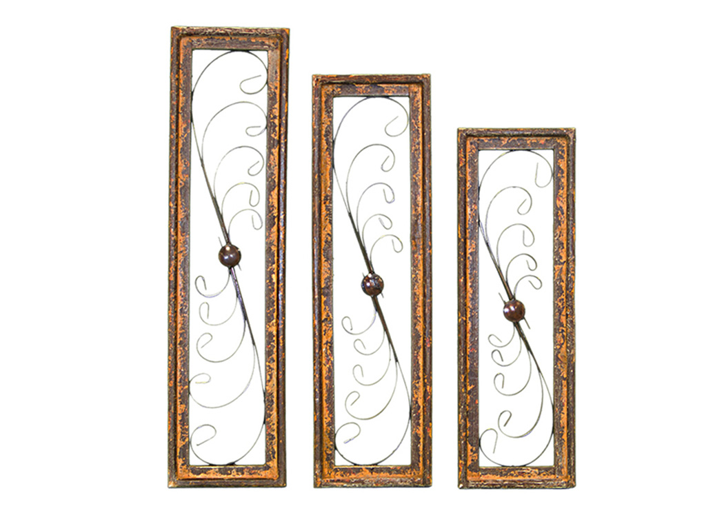 3 Piece Natural Wood & Iron Rectangle Window Set,L.M.T. Rustic