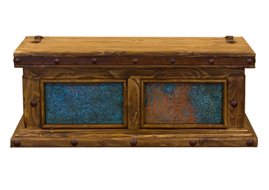 Trunk w/Turquoise Copper Panels,L.M.T. Rustic