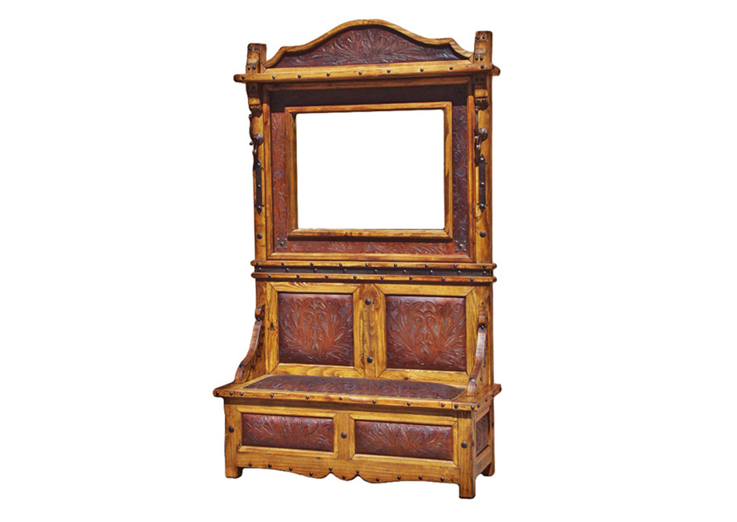 Hall Tree w/Tooled Leather Inserts,L.M.T. Rustic