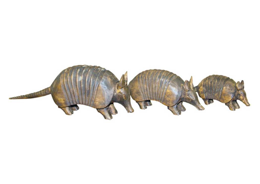 Set of 3 Carved Mesquite Armadilos,L.M.T. Rustic
