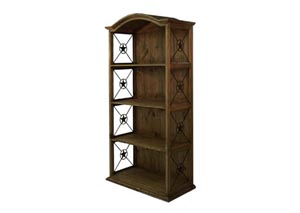 "Double Texas Star Medio Distressed Pine 40"" Bookcase"