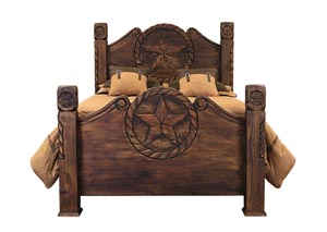 Queen Medio Finish Country Bed w/Rope and Star