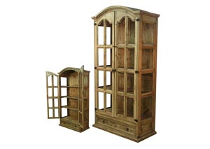Image for Honey Finish Display Cabinet/Curio