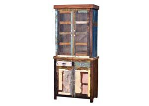 Image for Painted Reclaimed Wood Curio w/Glass & Drawer Base