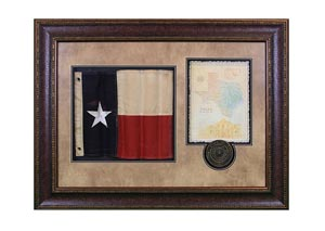 Shadowbox w/Texas Flag, Letter & Seal Framed