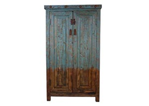 Old Wood 2 Door Color Wash Turquoise Cabinet
