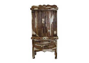 Image for Antique Color Wash White Armoire