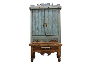 Image for Antique Color Wash Turquoise Armoire