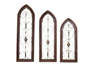 3 Piece Red Wood & Iron Cathedral Window Set
