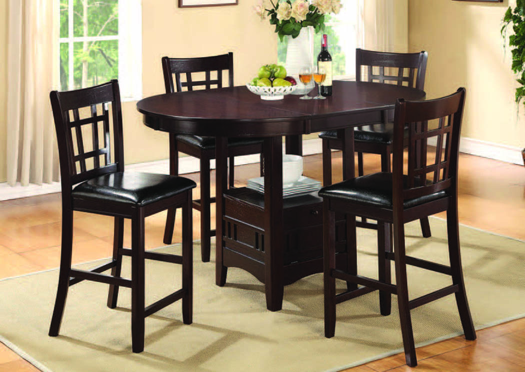 Andante Espresso 5-Pc Counter Set w/PU Chairs,Mainline