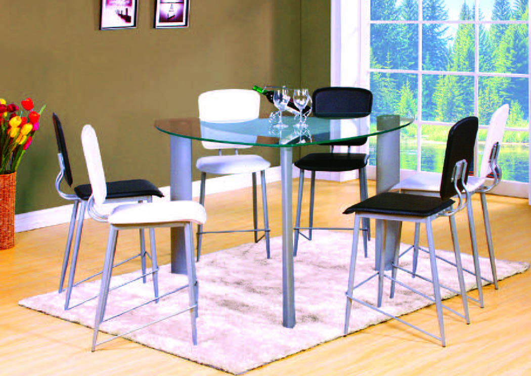 Delta Silver/Glass 4-Pc Counter Table w/Black Chairs,Mainline