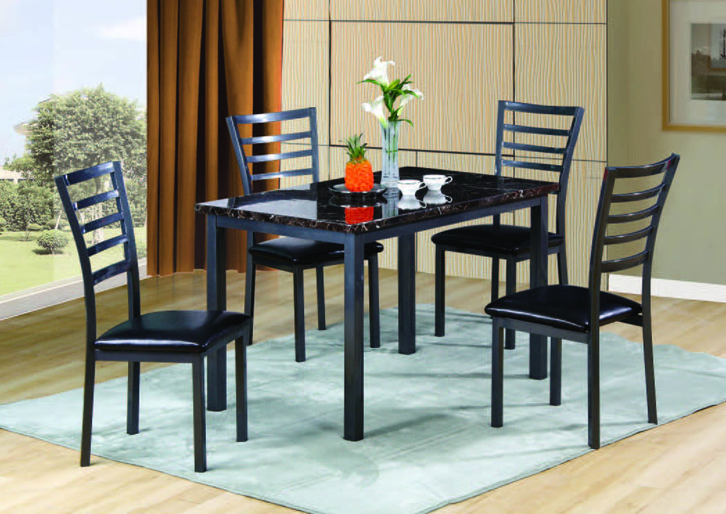 Fairmont Black 5 Pc Dining Set 48 X 30 Home Gallery Furniture Store Philadelphia Pa