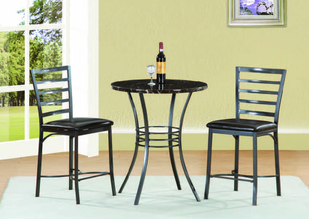 "Fairmont Black 3-Pc 30"" Counter Set,Mainline"