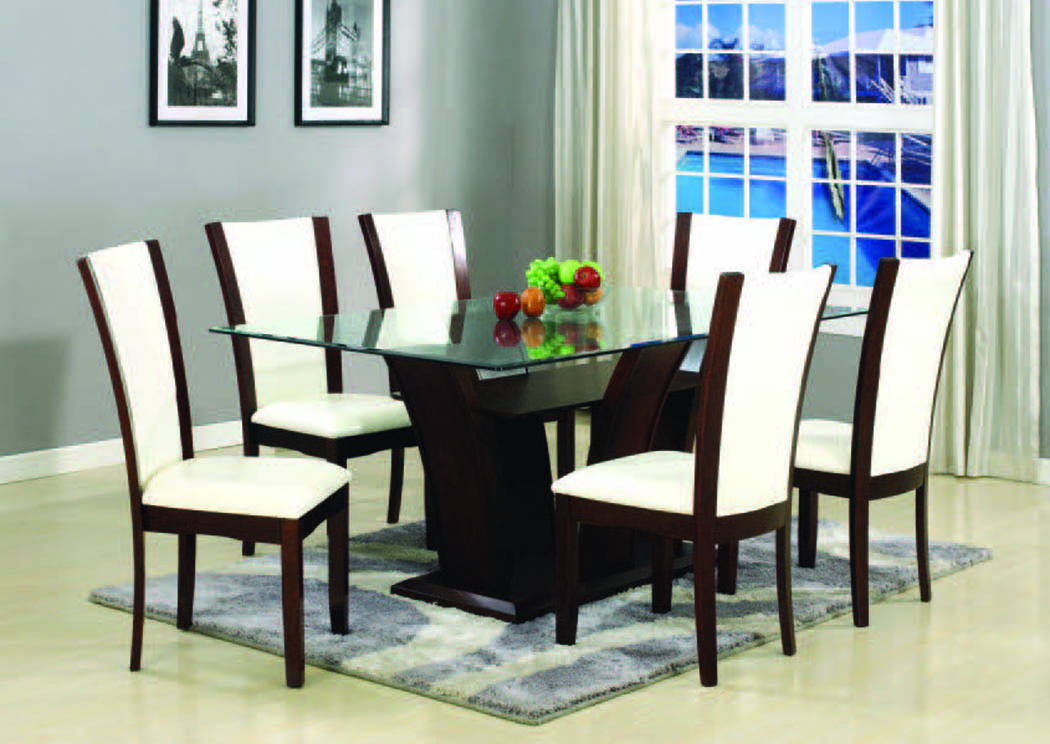 Enclave Espresso 5 Pc 72 Dining Set W Off White Chairs Home Gallery Furniture Store Philadelphia Pa