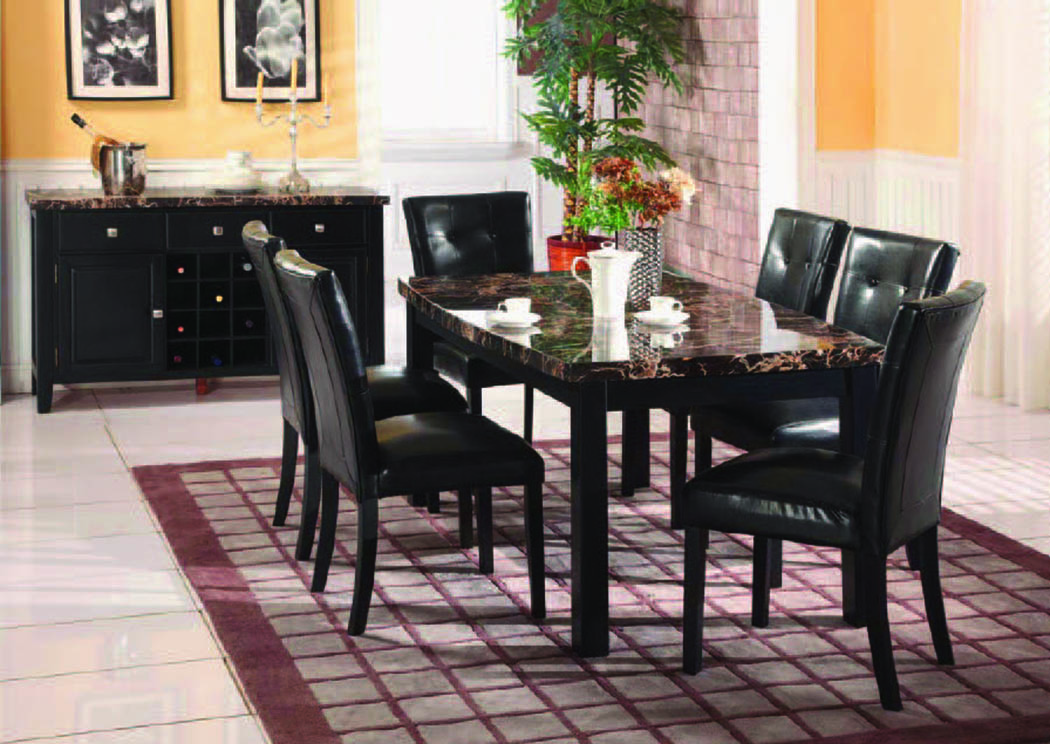 "Obsidian Black Dining Table w/Faux Marble (38""x68),Mainline"