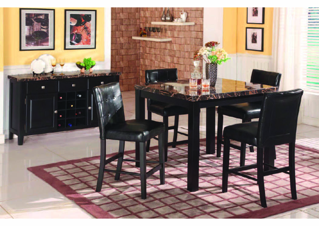 Obsidian Black 5Pc Counter Set w/Faux Marble,Mainline
