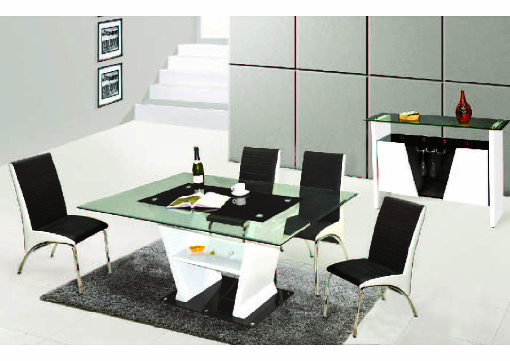 "Vogue Black & White 5-Pc Dining Set (70"" x 40""),Mainline"