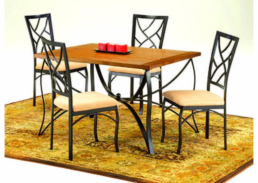 Mosiac Medium Oak 5 Pc Dining Set 36 X48 Furniture Moc