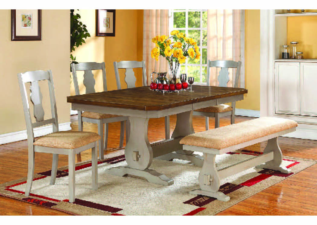 Napa Pickled Gray/Spiced Oak 4-Pc Dining Set w/Bench,Mainline