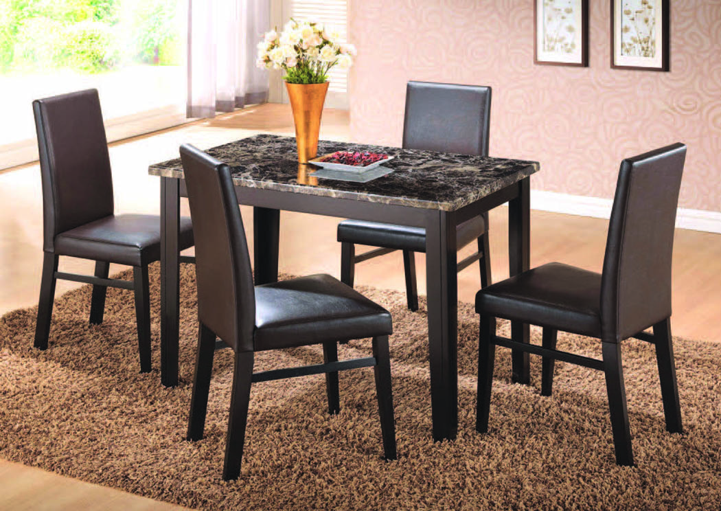 "Market St. Ebony 5-Pc Dining Set (48""x30 ),Mainline"