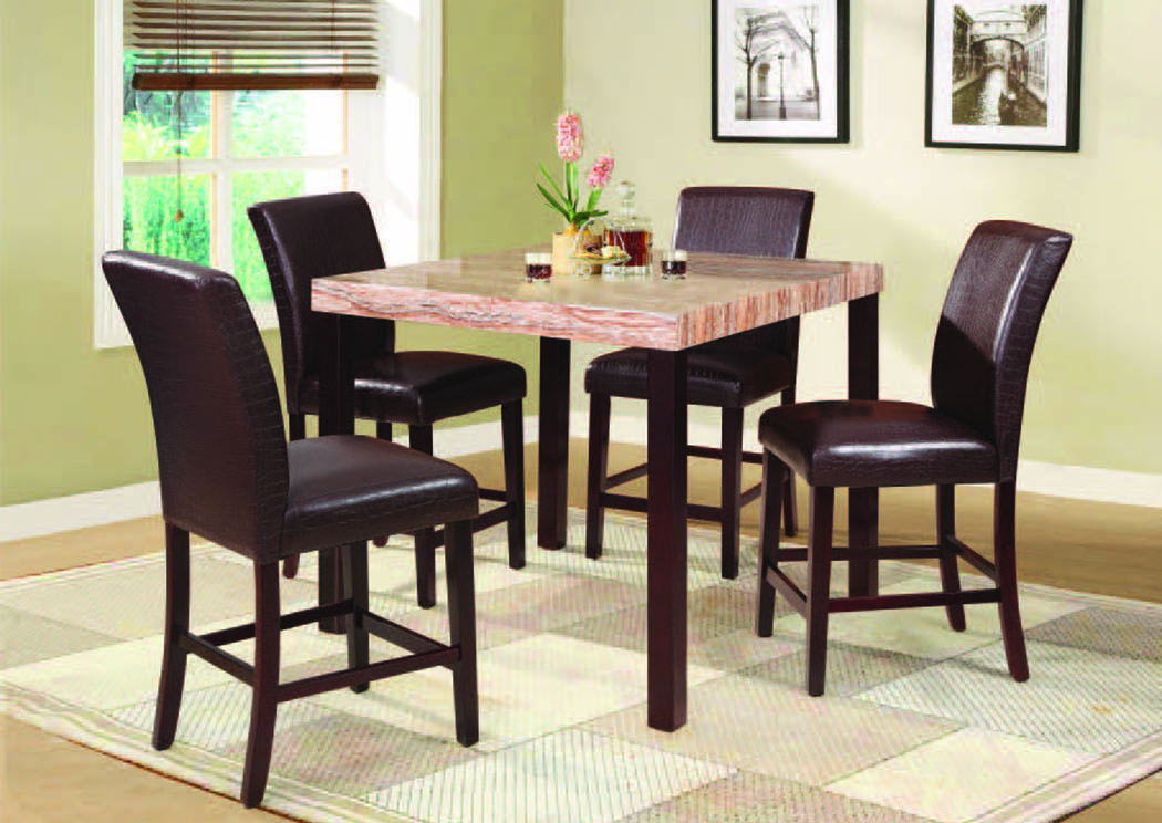 "Acadia Espresso 5Pc Counter Height Table Set (40"" x 40""),Mainline"