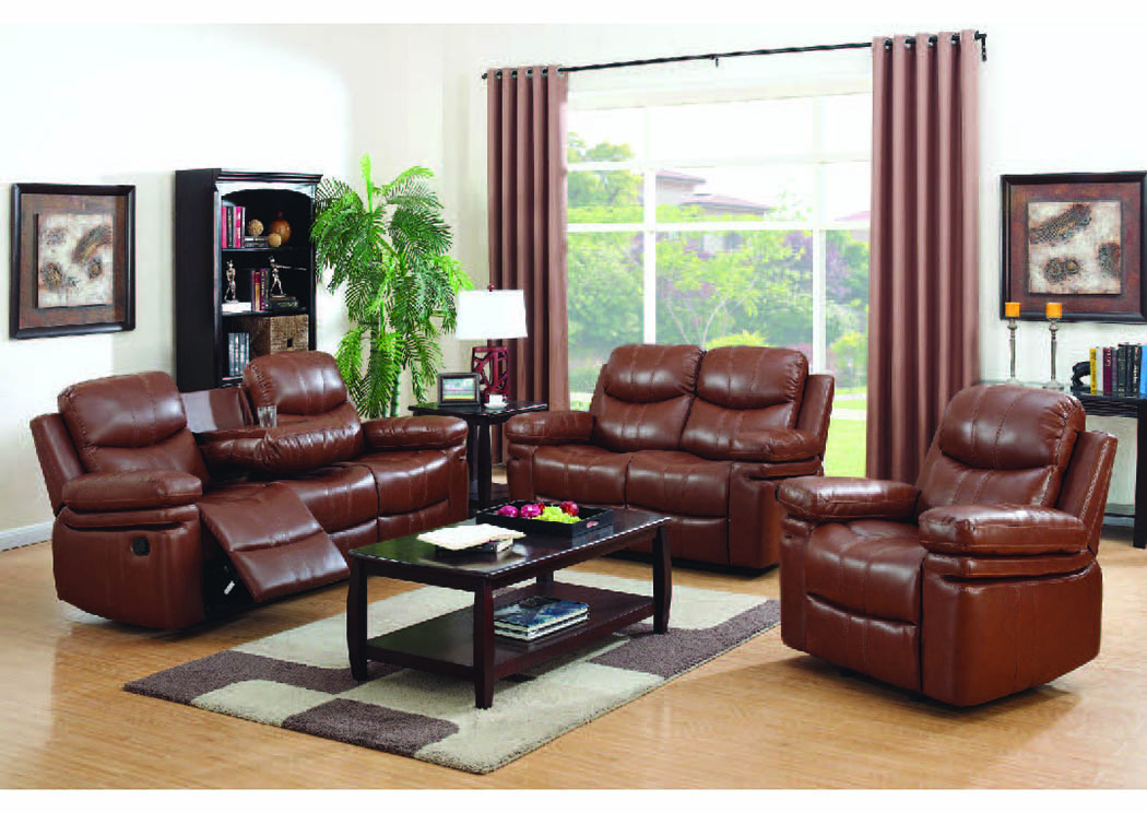 Simba Bomber Brown Bonded Leather Motion Sofa w/Tray,Mainline