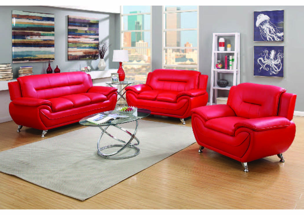 Napoli Red Leather Match 2 Pc Sofa