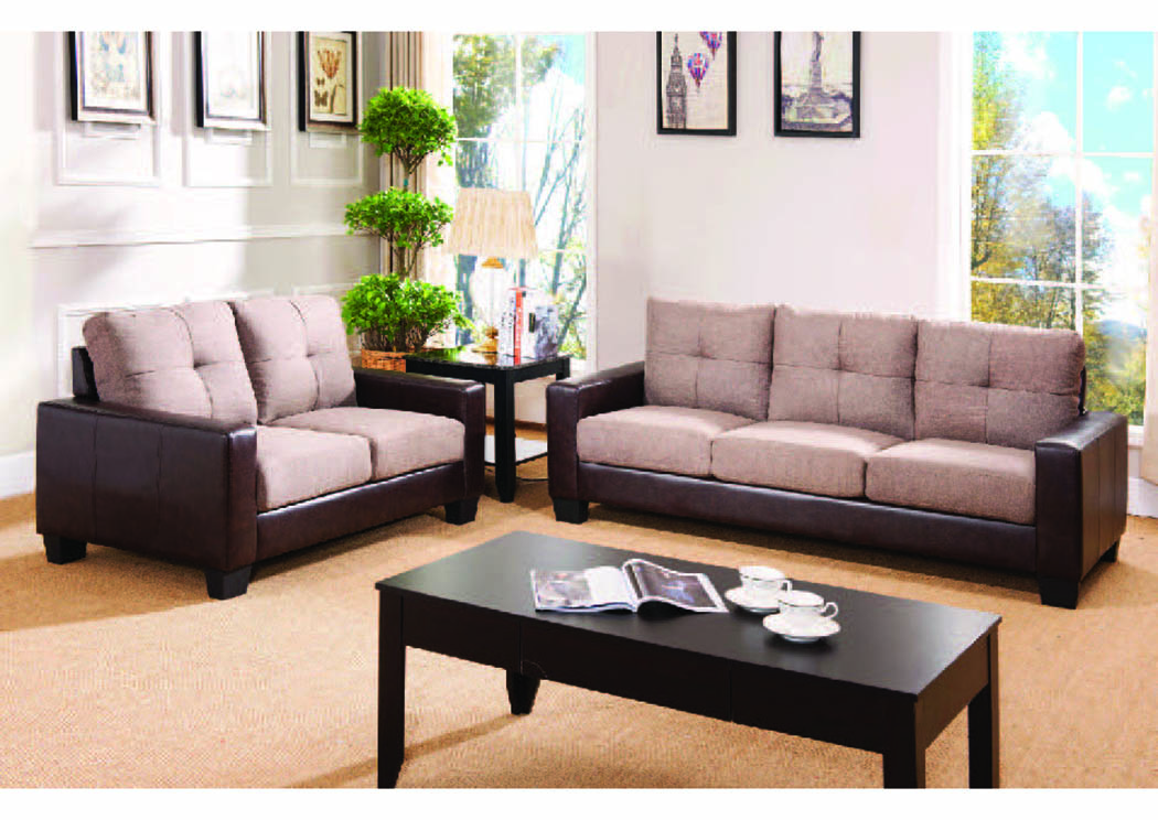 Stanza 2 Taupe Fabric/Espresso Leatherette Sofa The Furniture Outlet NY
