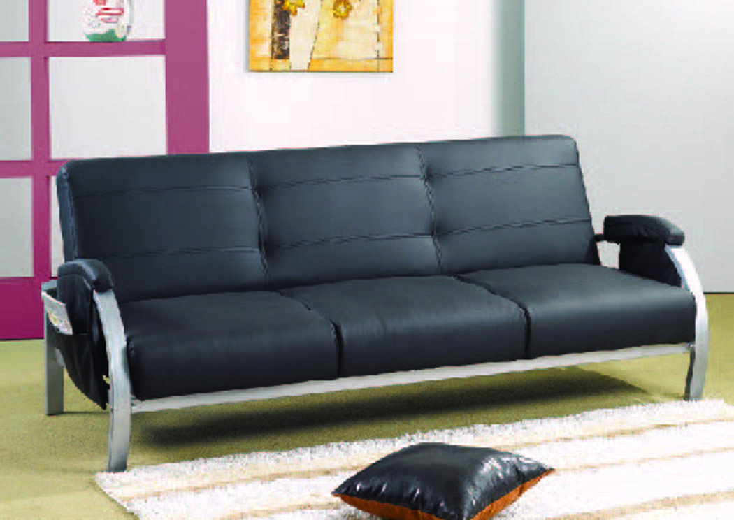Omni Black Leather Reclining Sofa Bed w/Magazine Pockets,Mainline