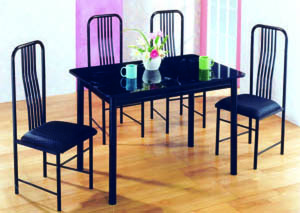 Topaz 5-Pc Black Marble Top Dining Set