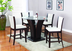 "Enclave Espresso 42"" 5-Pc Counter Set (Off-White Chairs)"
