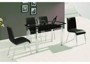 C'est La Vie Black & Chrome 5-Pc Dining Set