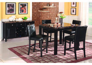 Obsidian Black 5Pc Counter Set w/Faux Marble