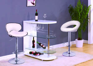 "Image for Odeon White & Chrome Bar Stand (42""x 18"" x 41"")"