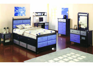 Image for Jack Navy/Black/Silver Twin & Trundle Bed w/Drawer
