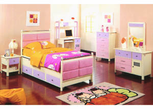 Image for Jill Pink/Purple/Off-White 5-Drawer Chest