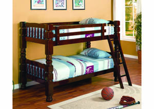 Image for Ponderosa Cherry Twin/Twin Jumbo Spindle Bunk Bed (20)