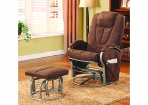 Image for Attache Mocha Suede Glider Rocker w/Ottoman