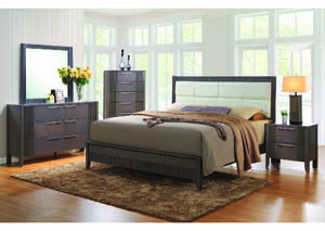 Image for Savvy Bleached Charcoal/Off-White Leatherette King Panel Bed