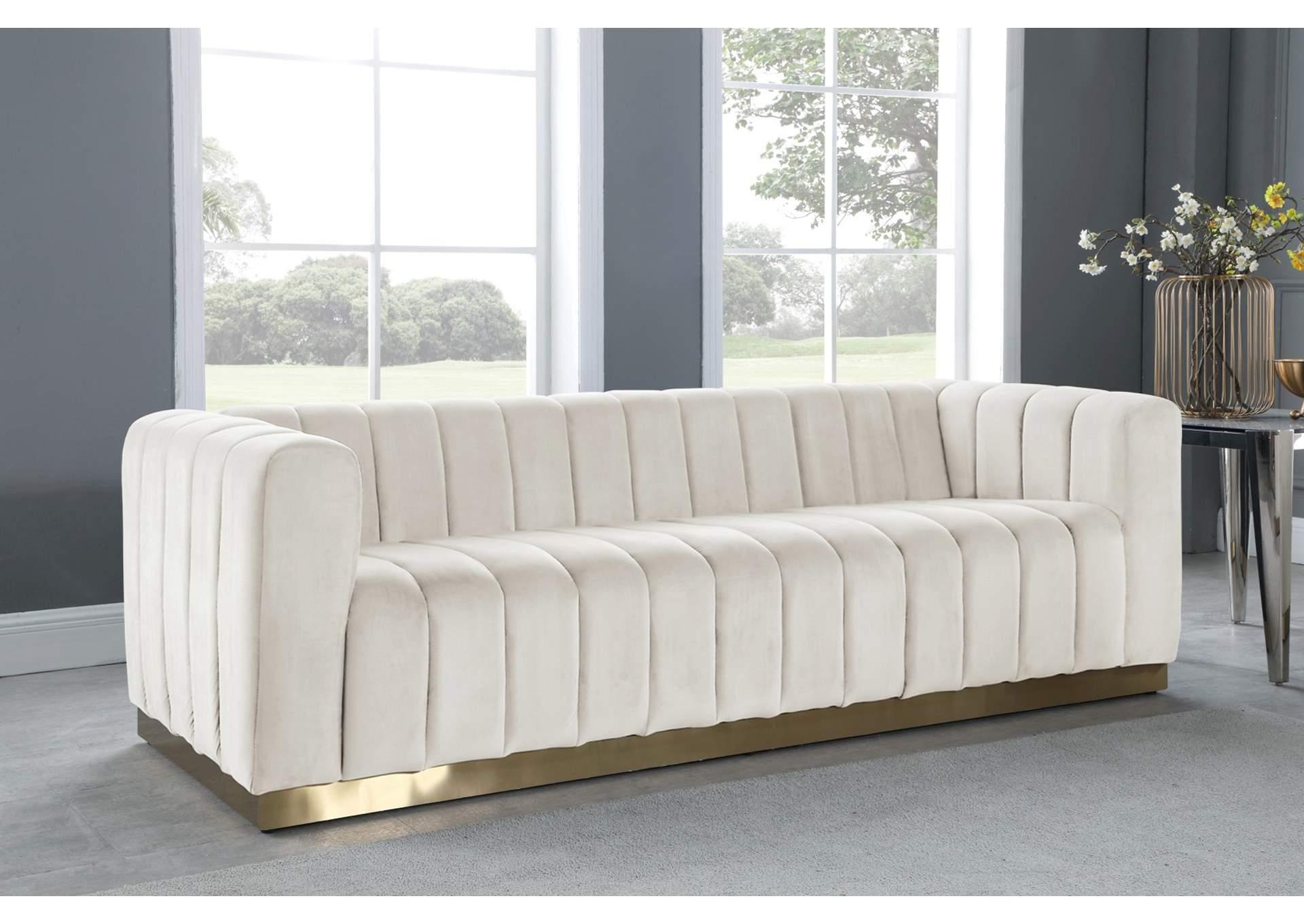 Marlon Cream Velvet Sofa Best Buy Furniture And Mattress