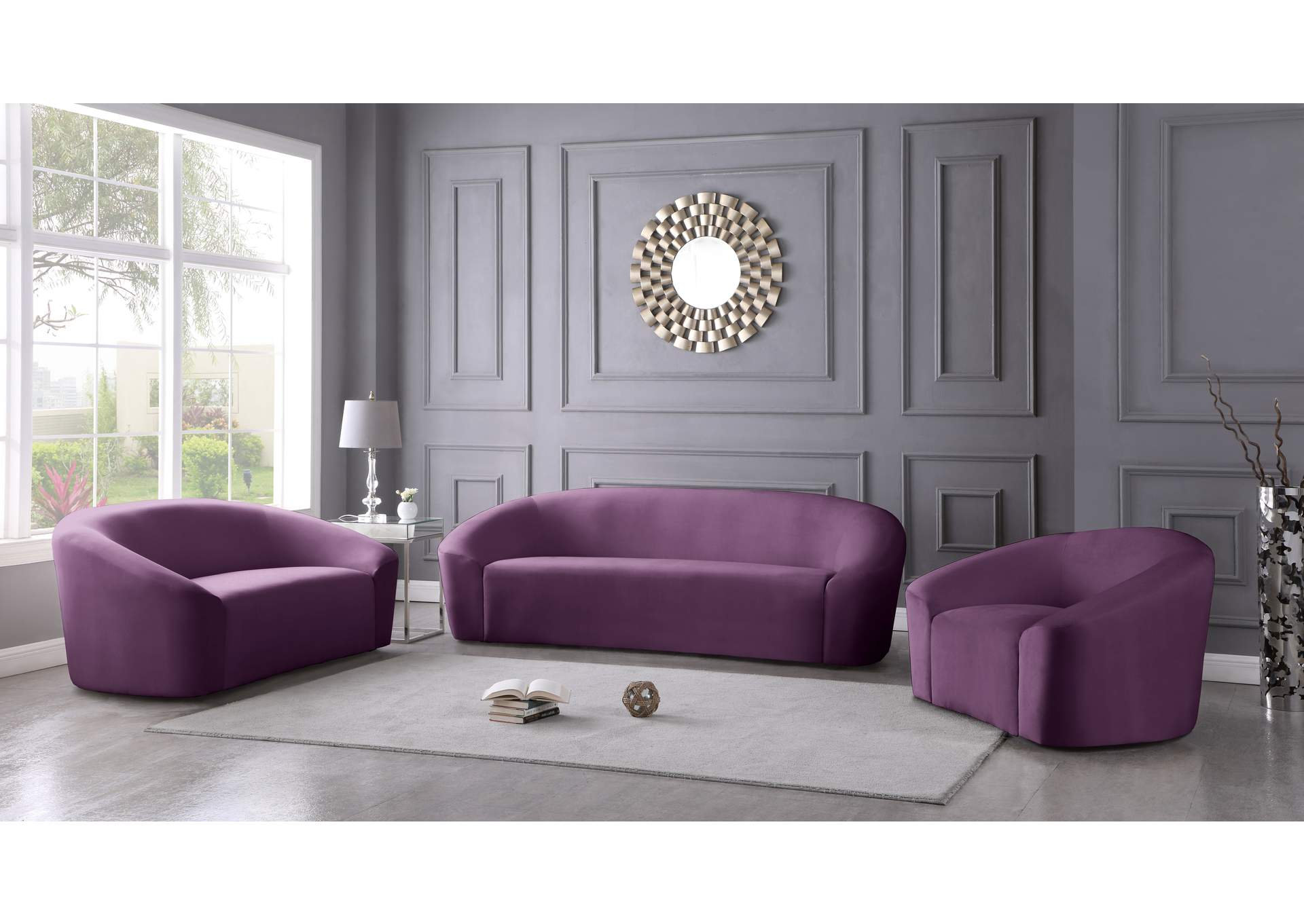 Riley Purple Velvet Sofa,Meridian Furniture