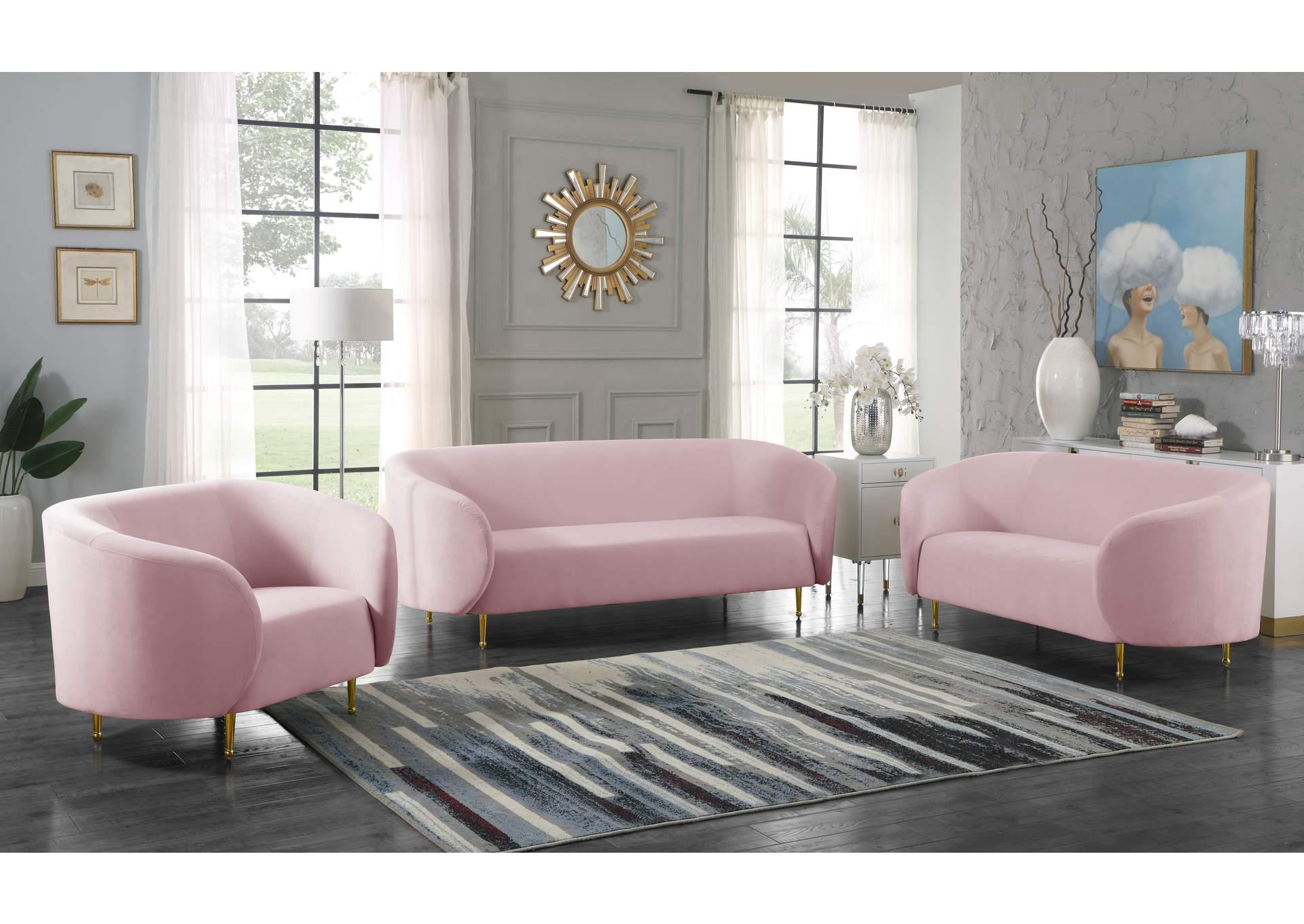 Lavilla Pink Velvet Sofa And Loveseat Kirk Imports