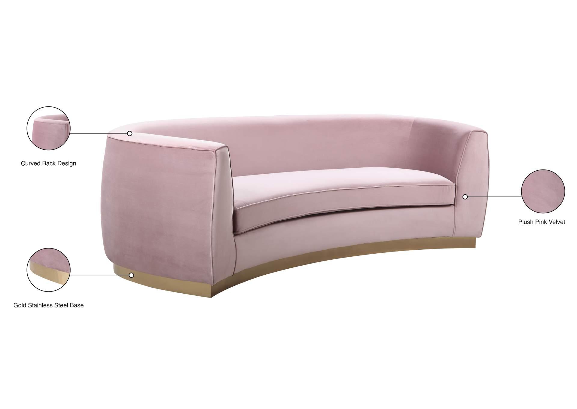 Julian Pink Velvet Sofa Market Furniture Paterson Nj