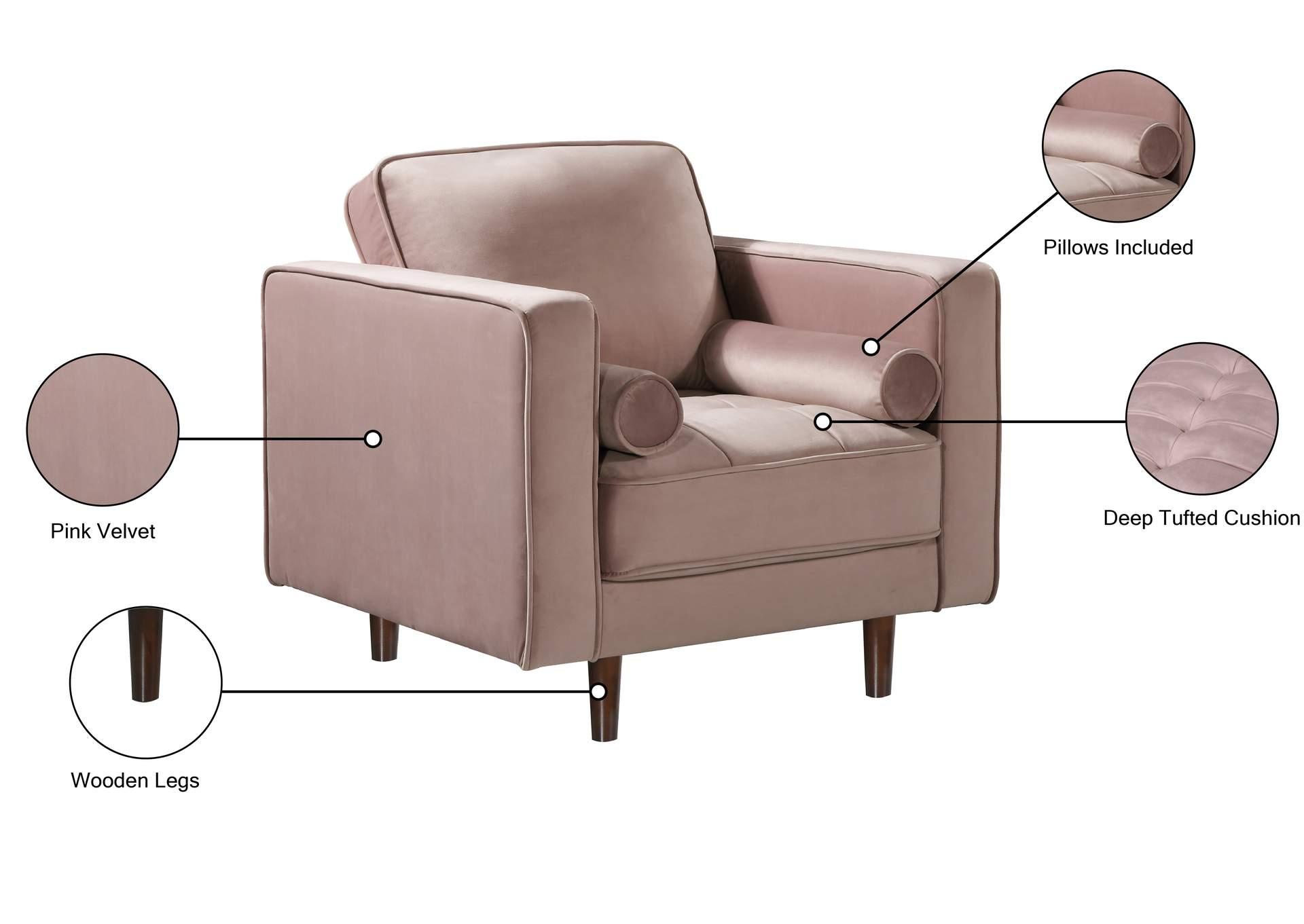 Emily Pink Velvet Chair Best Buy Furniture And Mattress